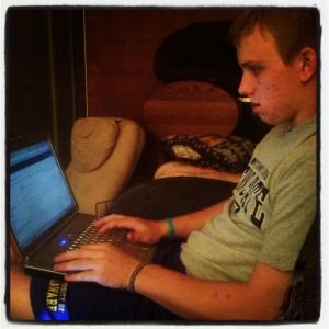 My little brother applying to Temple University. Please ignore the Penn State shirt and University of Delaware shorts.
