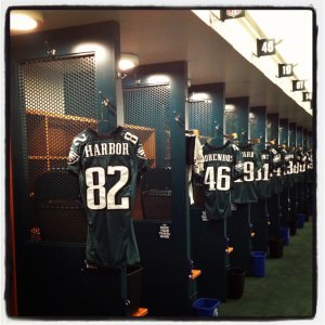 Eagles jerseys in the locker room