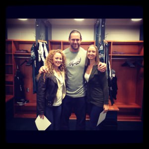 My friend Lindsay and I with Eagles player Evan Mathis