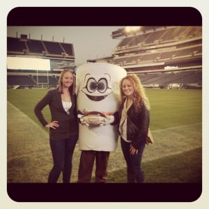 Hanging out on the Eagles field with Dunkin Donuts Cuppy