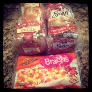 Fall favorites: pumpkin bagels, pumpkin toast, candy corn
