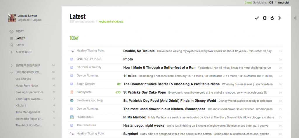 Feedly Titles Style View