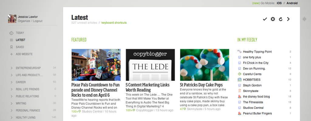 Feedly Magazine Style View