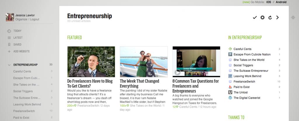 Entrepreneurship Category on Feedly