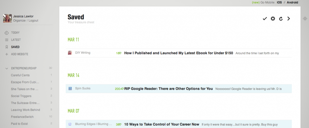 """Feedly's """"Save For Later"""" Function"""