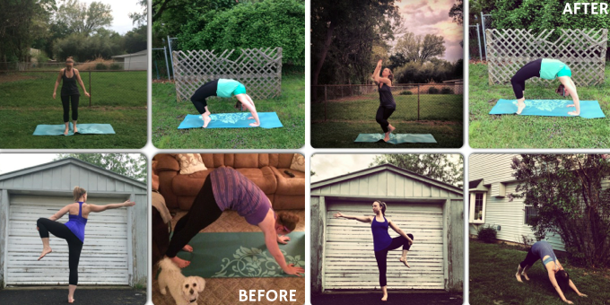 before and after editing yoga shots- Jessica Lawlor