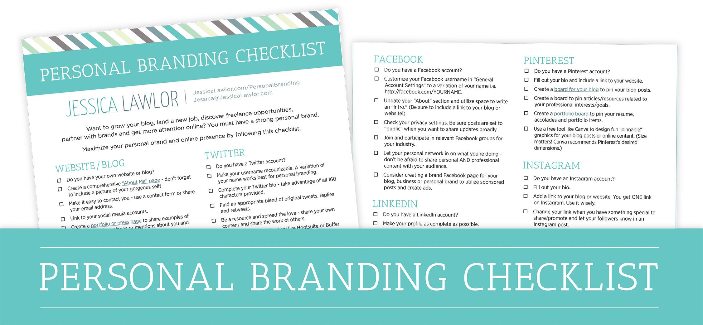 personal branding checklist- Jessica Lawlor