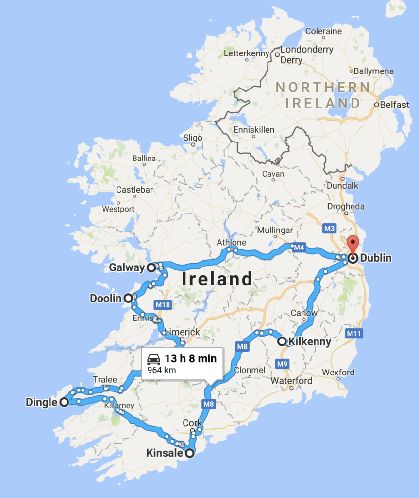 our trip begins and ends in dublin so as you can see well loop around just about half of the country in eight or so days in my planning i saw many