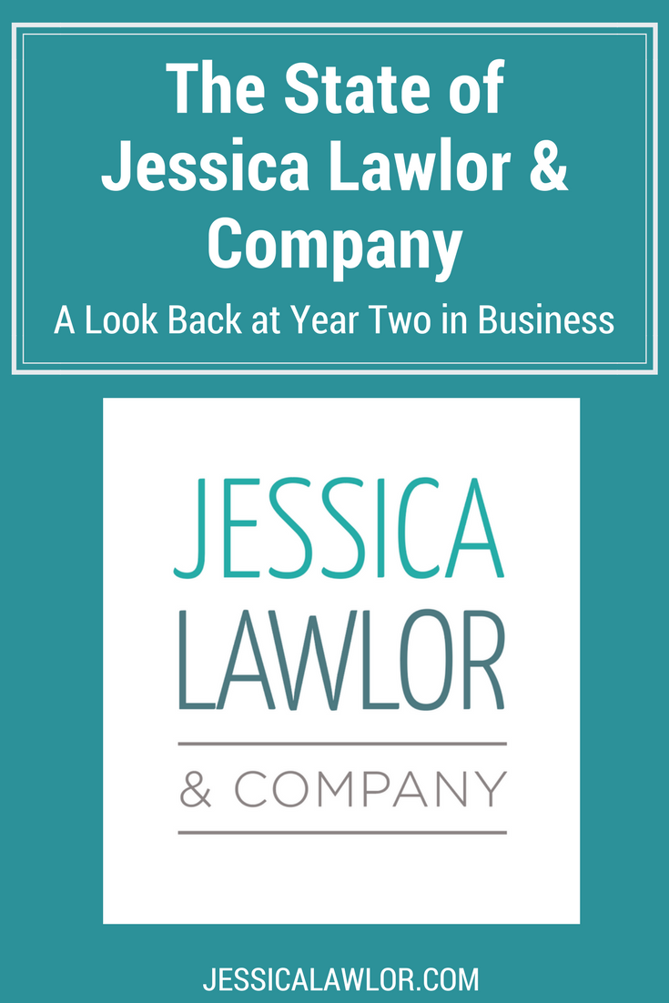 Jessica Lawlor & Company (JL&Co) just celebrated its second year in business! It's time for the first-ever State of JL&Co. Find out how we made money, major client accomplishments, all the things that made us giddy and what's to come in year three.